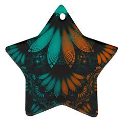 Beautiful Teal And Orange Paisley Fractal Feathers Star Ornament (two Sides) by jayaprime