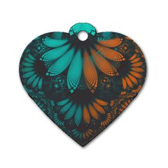 Beautiful Teal And Orange Paisley Fractal Feathers Dog Tag Heart (two Sides) by jayaprime