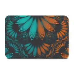 Beautiful Teal And Orange Paisley Fractal Feathers Plate Mats by jayaprime