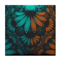 Beautiful Teal And Orange Paisley Fractal Feathers Face Towel by jayaprime