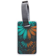 Beautiful Teal And Orange Paisley Fractal Feathers Luggage Tags (one Side)  by jayaprime