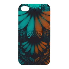 Beautiful Teal And Orange Paisley Fractal Feathers Apple Iphone 4/4s Hardshell Case by jayaprime