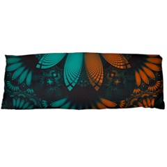 Beautiful Teal And Orange Paisley Fractal Feathers Body Pillow Case (dakimakura) by jayaprime