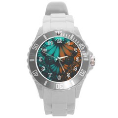 Beautiful Teal And Orange Paisley Fractal Feathers Round Plastic Sport Watch (l) by jayaprime
