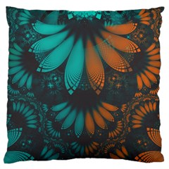 Beautiful Teal And Orange Paisley Fractal Feathers Large Cushion Case (one Side) by jayaprime