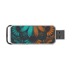 Beautiful Teal And Orange Paisley Fractal Feathers Portable Usb Flash (two Sides) by jayaprime