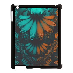 Beautiful Teal And Orange Paisley Fractal Feathers Apple Ipad 3/4 Case (black) by jayaprime