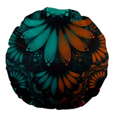 Beautiful Teal And Orange Paisley Fractal Feathers Large 18  Premium Round Cushions by jayaprime