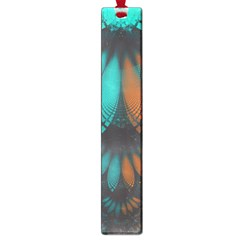 Beautiful Teal And Orange Paisley Fractal Feathers Large Book Marks by jayaprime