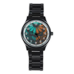 Beautiful Teal And Orange Paisley Fractal Feathers Stainless Steel Round Watch by jayaprime