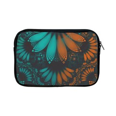 Beautiful Teal And Orange Paisley Fractal Feathers Apple Ipad Mini Zipper Cases by jayaprime