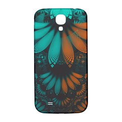 Beautiful Teal And Orange Paisley Fractal Feathers Samsung Galaxy S4 I9500/i9505  Hardshell Back Case by jayaprime