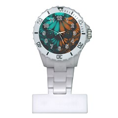 Beautiful Teal And Orange Paisley Fractal Feathers Plastic Nurses Watch by jayaprime