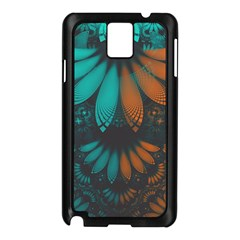 Beautiful Teal And Orange Paisley Fractal Feathers Samsung Galaxy Note 3 N9005 Case (black) by jayaprime