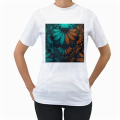 Beautiful Teal And Orange Paisley Fractal Feathers Women s T Shirt (white)  by jayaprime