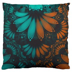 Beautiful Teal And Orange Paisley Fractal Feathers Standard Flano Cushion Case (one Side) by jayaprime