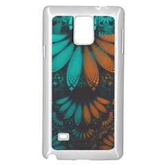 Beautiful Teal And Orange Paisley Fractal Feathers Samsung Galaxy Note 4 Case (white) by jayaprime