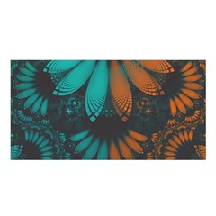 Beautiful Teal And Orange Paisley Fractal Feathers Satin Shawl by jayaprime