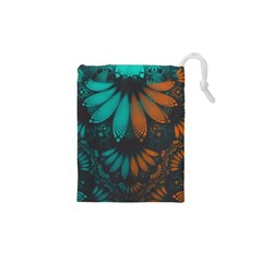 Beautiful Teal And Orange Paisley Fractal Feathers Drawstring Pouches (xs)  by jayaprime