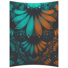 Beautiful Teal And Orange Paisley Fractal Feathers Back Support Cushion by jayaprime