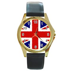 Union Jack Pencil Art Round Gold Metal Watch by picsaspassion