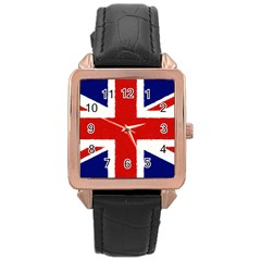 Union Jack Pencil Art Rose Gold Leather Watch  by picsaspassion