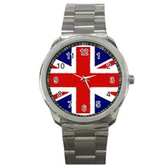 Union Jack Watercolor Drawing Art Sport Metal Watch by picsaspassion