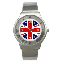 Union Jack Watercolor Drawing Art Stainless Steel Watch by picsaspassion