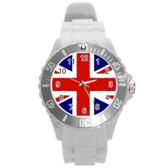 Union Jack Watercolor Drawing Art Round Plastic Sport Watch (l) by picsaspassion