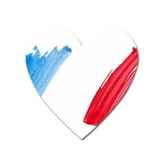 France Flag, Banner Watercolor Painting Art Heart Magnet by picsaspassion