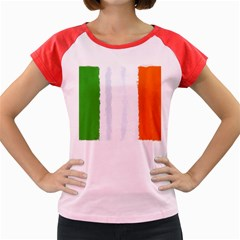 Flag Ireland, Banner Watercolor Painting Art Women s Cap Sleeve T Shirt