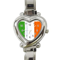 Flag Ireland, Banner Watercolor Painting Art Heart Italian Charm Watch