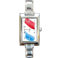 Tricolor Banner Watercolor Painting Art Rectangle Italian Charm Watch