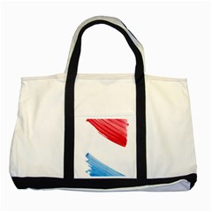 Tricolor Banner Watercolor Painting Art Two Tone Tote Bag