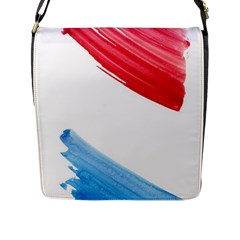 Tricolor Banner Watercolor Painting Art Flap Messenger Bag (l)  by picsaspassion