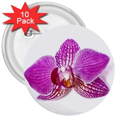Lilac Phalaenopsis Aquarel  Watercolor Art Painting 3  Buttons (10 Pack)  by picsaspassion