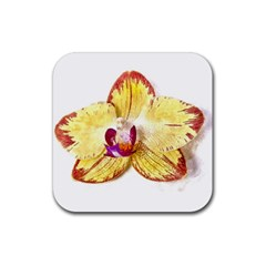 Yellow Phalaenopsis Flower, Floral Aquarel Watercolor Painting Art Rubber Square Coaster (4 Pack)  by picsaspassion