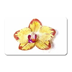 Yellow Phalaenopsis Flower, Floral Aquarel Watercolor Painting Art Magnet (rectangular)