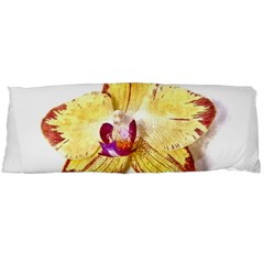 Yellow Phalaenopsis Flower, Floral Aquarel Watercolor Painting Art Body Pillow Case (dakimakura) by picsaspassion