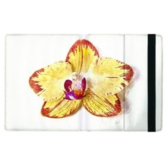 Yellow Phalaenopsis Flower, Floral Aquarel Watercolor Painting Art Apple Ipad 2 Flip Case by picsaspassion