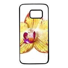 Yellow Phalaenopsis Flower, Floral Aquarel Watercolor Painting Art Samsung Galaxy S7 Black Seamless Case
