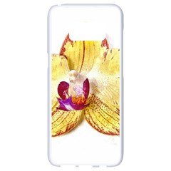 Yellow Phalaenopsis Flower, Floral Aquarel Watercolor Painting Art Samsung Galaxy S8 White Seamless Case by picsaspassion