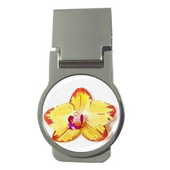 Phalaenopsis Yellow Flower, Floral Oil Painting Art Money Clips (round)  by picsaspassion