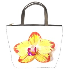Phalaenopsis Yellow Flower, Floral Oil Painting Art Bucket Bags by picsaspassion