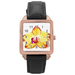 Phalaenopsis Yellow Flower, Floral Oil Painting Art Rose Gold Leather Watch