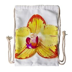 Phalaenopsis Yellow Flower, Floral Oil Painting Art Drawstring Bag (large) by picsaspassion