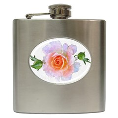 Pink Rose Flower, Floral Oil Painting Art Hip Flask (6 Oz) by picsaspassion