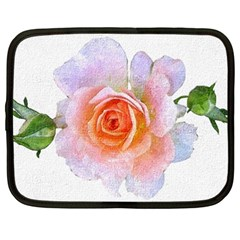 Pink Rose Flower, Floral Oil Painting Art Netbook Case (xxl)  by picsaspassion