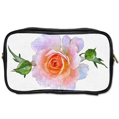 Pink Rose Flower, Floral Oil Painting Art Toiletries Bags 2 Side by picsaspassion