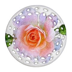 Pink Rose Flower, Floral Oil Painting Art Round Filigree Ornament (two Sides) by picsaspassion